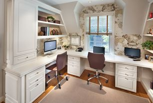 Cottage Home Office with POTTERY BARN CHENILLE JUTE BASKETWEAVE RUG - NATURAL, Hardwood floors, Custom Home Office