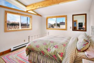 Country Guest Bedroom with Exposed beam, High ceiling, simple granite floors