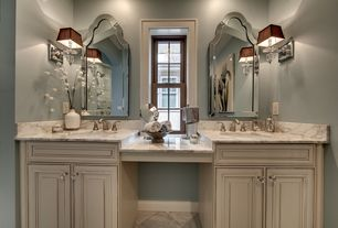Traditional Master Bathroom with Complex Marble, Wall sconce, Raised panel, High ceiling, Master bathroom, Flush, Rain shower
