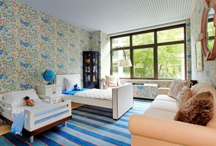 Contemporary Kids Bedroom with interior wallpaper, Carpet
