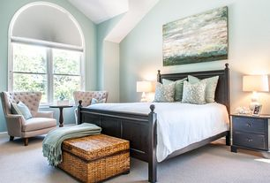 Master Bedroom with Standard height, RediShade White Fabric Arch Window Shade, Pottery Barn Merrick Woven Trunk, Paint 1