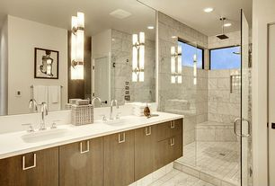 Modern Master Bathroom with Rain shower, European Cabinets, Master bathroom, Undermount sink, Quartz counters, Marble Tile