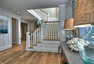 Cottage Staircase with Crown molding, curved staircase, Hardwood floors, Wainscotting, High ceiling, Loft, Paint