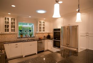 Traditional Kitchen with Garden window, Double wall oven (stainless steel), Flat panel cabinets, Absolute black granite