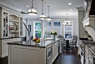 Traditional Kitchen with Kitchen island, Pendant light, Chandelier, Bridge faucet, Breakfast bar, Can light, Open shelving