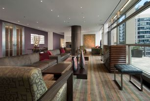 Contemporary Living Room with picture window, Hardwood floors, can lights, Standard height, French doors, Columns
