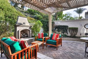Traditional Patio with Trellis, exterior herringbone tile floors, Fence, exterior tile floors
