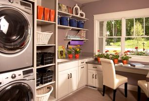 Traditional Laundry Room with Undermount sink, Target office star parsons chair with nailheads - cream, Dupont corian dove