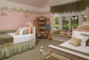 Traditional Kids Bedroom with no bedroom feature, Paint, Wall sconce, Armoire, Mural, Window seat, Carpet, High ceiling