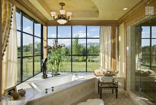 Traditional Master Bathroom with Arizona tile, THASSOS WHITE, marble, Paint, Crown molding, Shower, picture window, Bathtub