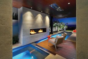Contemporary Hot Tub with Pathway, exterior stone floors, Deck Railing, Skylight, Fence
