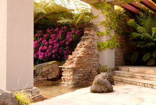 Tropical Landscape/Yard with Pond, Pathway, exterior stone floors, Lavender Rhododendron, Trellis, Fountain