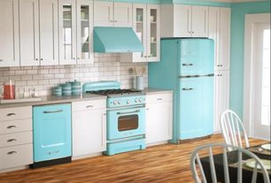 "Eclectic Kitchen with Standard height, Big chill retro 30"" vent hood, Paint, Crown molding, gas range, Flat panel cabinets"