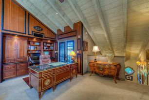Craftsman Home Office with Ceiling fan, Exposed beam, French doors, Built-in bookshelf, Carpet, Louis xv style  commode