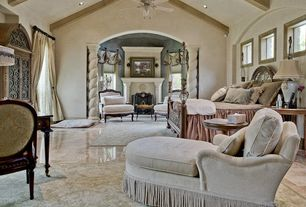 Mediterranean Master Bedroom with simple marble floors, Columns, picture window, Exposed beam, can lights, Vaulted ceiling