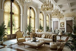 Traditional Living Room with Crown molding, High ceiling, simple marble tile floors, interior wallpaper, Ali tufted sofa