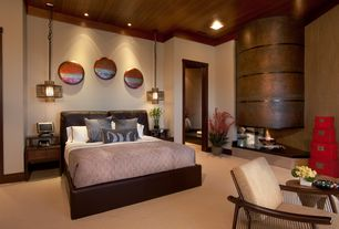 Asian Master Bedroom with Woven pendant light, Upholstered bed frame, Upholstered headboard, Crown molding, Wood ceiling