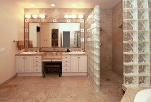 Traditional Master Bathroom with Master bathroom, Double sink, full backsplash, drop-in sink, can lights, Limestone counters