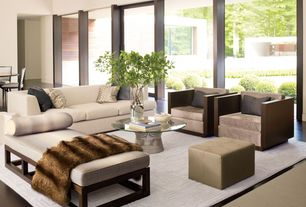Modern Living Room with picture window, French doors, Warren platner coffee table, High ceiling, Chaise lounge, Paint