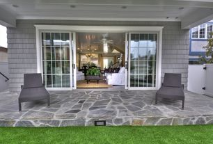 Cottage Porch with Fence, Screened porch, Pathway, sliding glass door, exterior stone floors, picture window