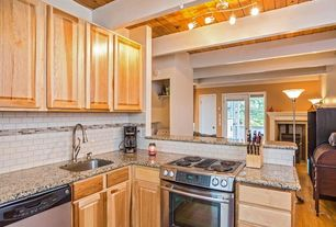 Rustic Kitchen with Simple granite counters, Undermount sink, L-shaped, Inset cabinets, Ms international blanco tulum granite