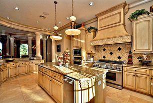 Mediterranean Kitchen with Framed Partial Panel, Kitchen island, Crown molding, U-shaped, full backsplash, Pendant light