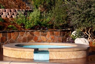 Modern Hot Tub with Pathway, exterior stone floors, Raised beds, Fence