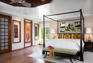 Asian Master Bedroom with Fairfield Chair Bedroom Bench, Ceiling fan, Dawson Canopy Bed, Hardwood floors, Shoji door