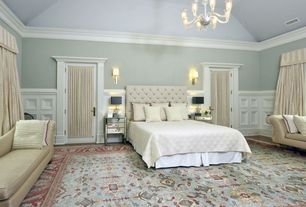 Traditional Master Bedroom with High ceiling, Crown molding, RH Chesterfield Fabric Panel Headboard, Louvered door, Carpet