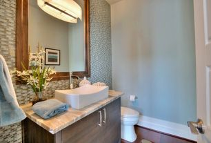 Contemporary Powder Room with Paint 1, specialty door, Flush, Pental sahara gold polished marble, White interior 6-panel door
