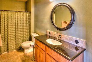 Craftsman Full Bathroom with Undermount sink, drop in bathtub, Raised panel, partial backsplash, Bathtub, curtain showerdoor