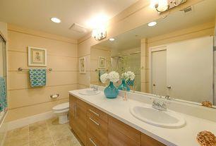 Contemporary Master Bathroom with Arizona tile, ST. HELENS WHITE, Quartz, Corian counters, Double sink, Master bathroom