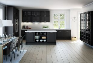 Contemporary Kitchen with Crown molding, Breakfast nook, Pendant light, Glass panel, French doors, Kitchen island, Flush