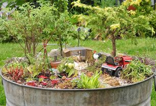 Eclectic Landscape/Yard with King metalworks hot dipped galvanized tub, 7 gal. capacity, Sedum plants - drought tolerant
