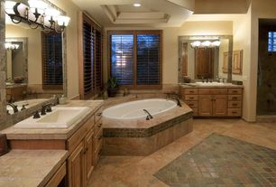Craftsman Master Bathroom with Pental jurastone beige polished limestone, Limestone tile counters, Master bathroom