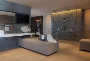 Modern Master Bathroom with Garden State Tile Sand Graffiatio Linear, Rain shower, Corian counters, frameless showerdoor