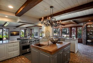 Country Kitchen with Exposed beam, Millennium Lighting Spivey Hall 6 Light Kitchen Island Pendant, Raised panel, Chandelier