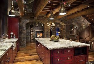 Rustic Kitchen with Complex granite counters, Standard height, Exposed beam, flush light, Kitchen island, Pendant light