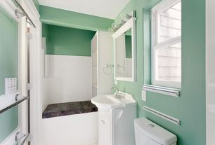 Cottage Full Bathroom with Powder room, Wainscotting, European Cabinets, Undermount sink, Flush