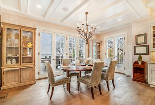 Traditional Kitchen with French doors, Box ceiling, Breakfast nook, interior wallpaper, Raised panel, European Cabinets