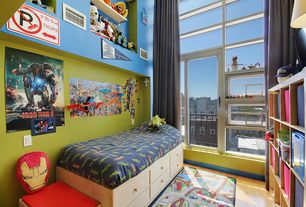 Contemporary Kids Bedroom with Hardwood floors, High ceiling, Built-in bookshelf