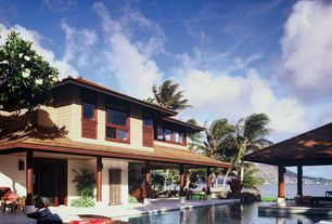 Tropical Swimming Pool with Pathway, Casement, picture window, sliding glass door, Gazebo, Other Pool Type
