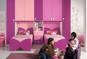 Contemporary Kids Bedroom with Paint 1, Built-in bookshelf, Standard height, Concrete tile , Paint 3, Paint 2