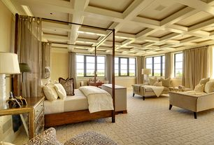 Contemporary Master Bedroom with Casement, Elk Lighting Verona Chest, Exposed beam, Box ceiling, Madison Table Lamp, Carpet