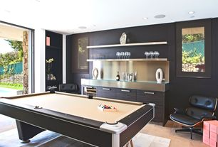 Contemporary Game Room with Winslow - hide blocks rug, 5' x 8', Hardwood floors, Pool table, Built-in bookshelf