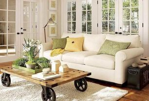 Traditional Living Room with Area rug, PB - Textured Linen Pillow Cover, French doors, Hardwood floors, High ceiling