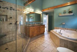 Traditional Master Bathroom with Exposed beam, Limestone counters, Double sink, Inset cabinets, Rain shower, Standard height