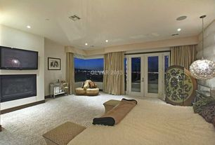 Eclectic Master Bedroom with Palatial furniture ridgeway leather gator tail ottoman, Amelie mirrored hall chest