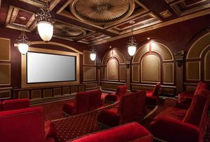 Traditional Home Theater with Progress Pendant Light with Beige Glass in Espresso Finish, Ceiling medallion, Pendant light