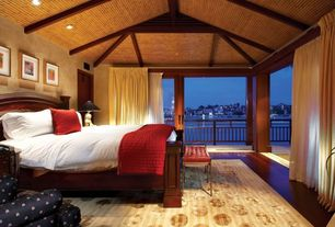 Asian Master Bedroom with Exposed beam, sliding glass door, picture window, flat door, Bamboo flooring, High ceiling, Columns